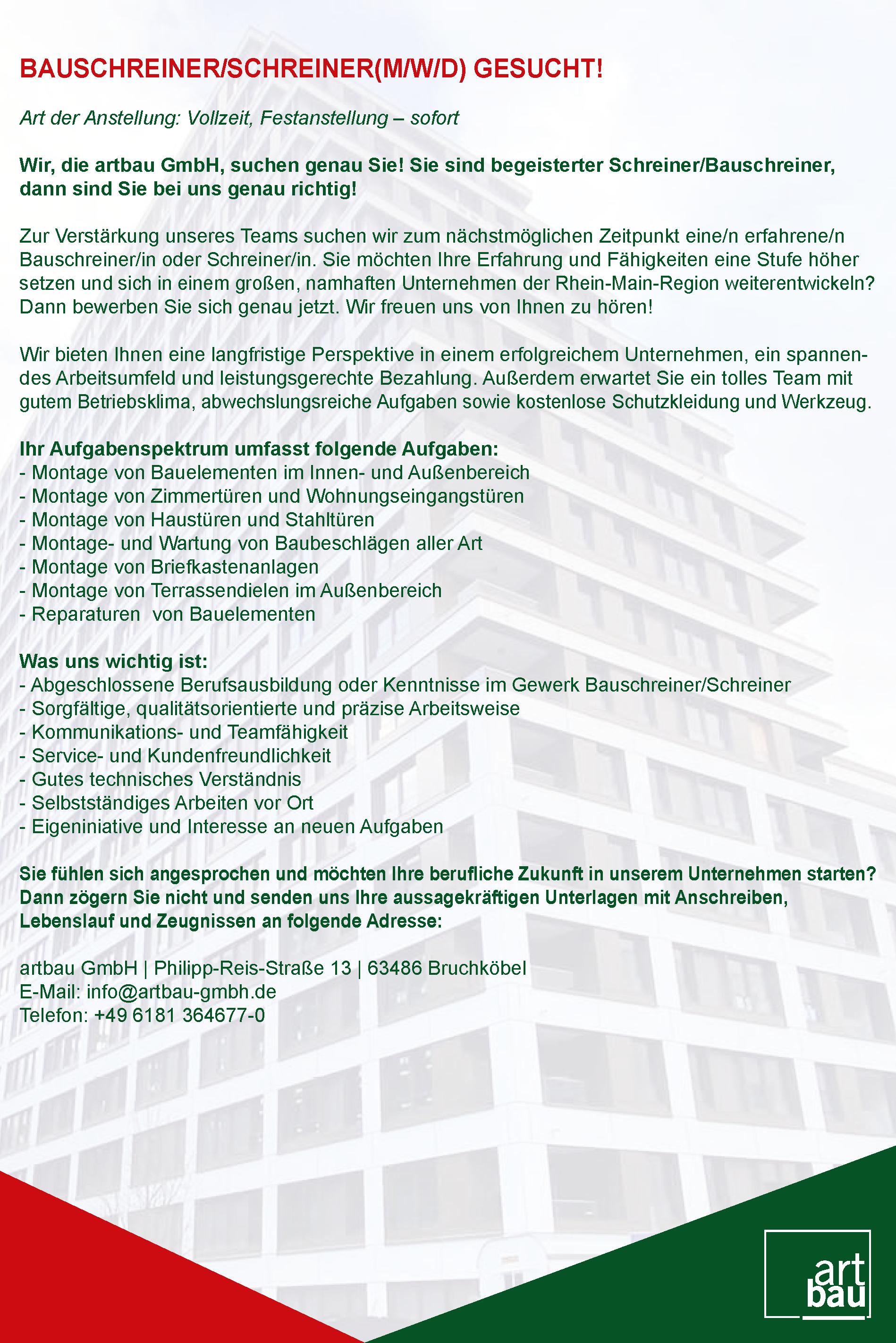Jobangebote 2021_Bauschreiner